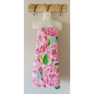 •Lilly Pulitzer• Rose Print Strapless Dress